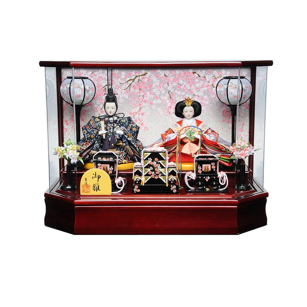【雛人形】ベビーザらス限定 ケース親王飾り「舞桜ワイン塗六角アクリル」【オンライン限定】【送料無料】