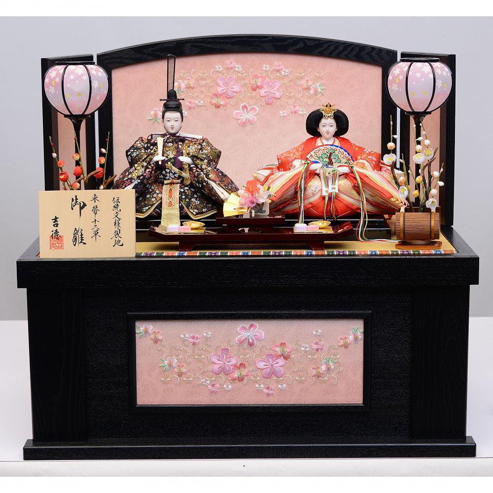 【雛人形】ベビーザらス限定 収納親王飾り「桜刺繍花唐草黒木目」【送料無料】
