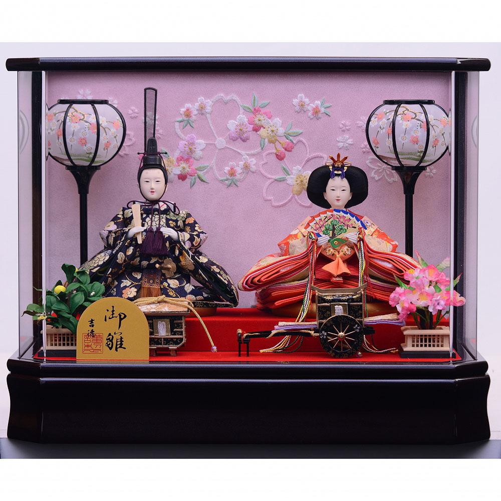 【雛人形】ベビーザらス限定 ケース親王飾り「桜刺繍六角アクリル」【送料無料】
