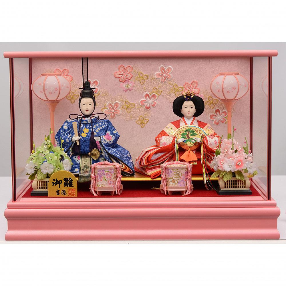 【雛人形】ベビーザらス限定 ケース親王飾り「芳春桜刺繍ピンク塗」【送料無料】