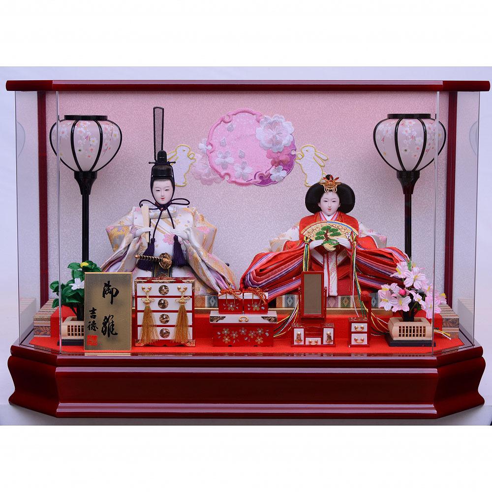 【雛人形】ベビーザらス限定 ケース親王飾り「雪輪うさぎワイン塗六角アクリル」【送料無料】