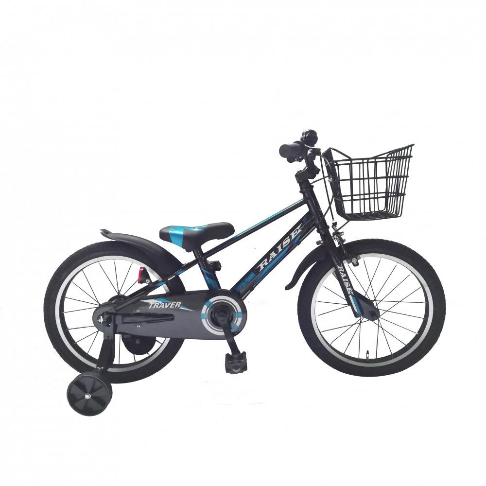 トイザらス限定 18インチ 子供用自転車 RAISE トレイバー ブラック/ブルー