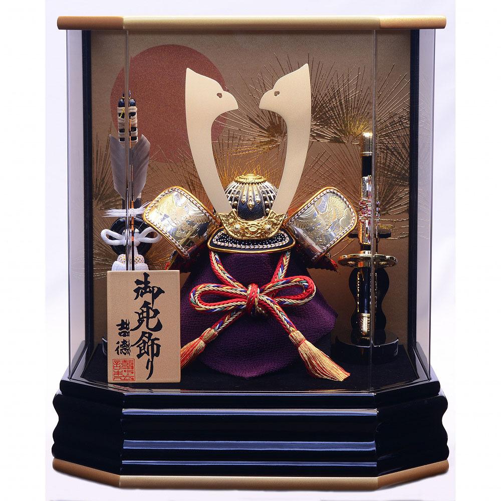 【五月人形】ベビーザらス限定 兜ケース飾り 「金彩松黒金六角アクリル」【送料無料】