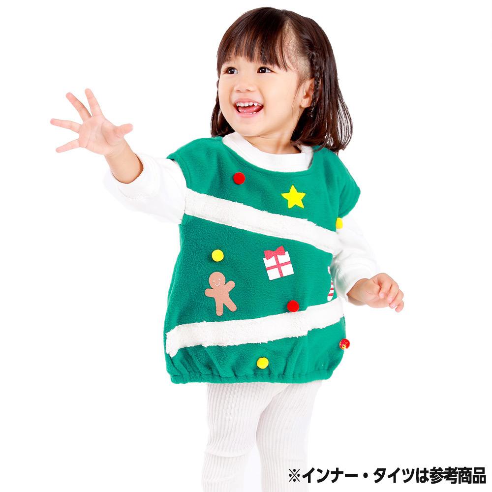 新生活 最新号掲載アイテム クリスマススモック ツリー グリーン×70-80cm