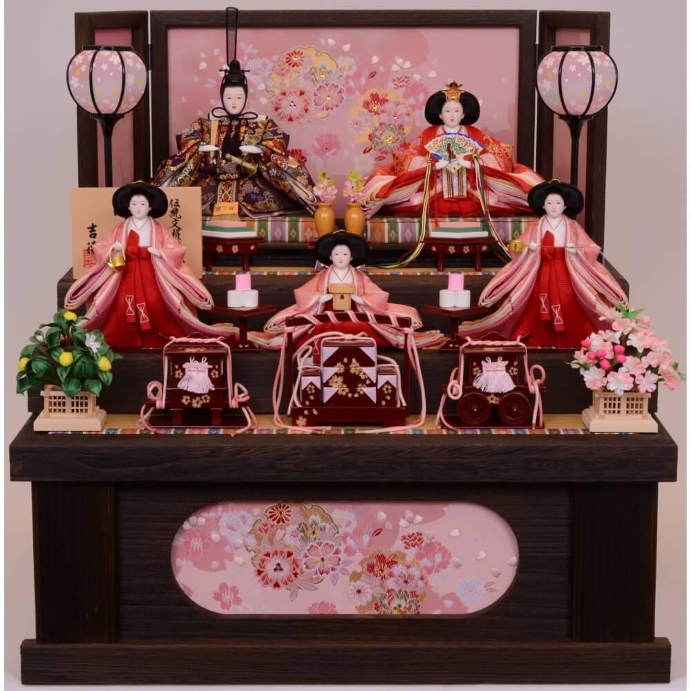 【雛人形】べビーザらス限定 三段収納五人飾り「焼桐春歌雪輪桜」【送料無料】