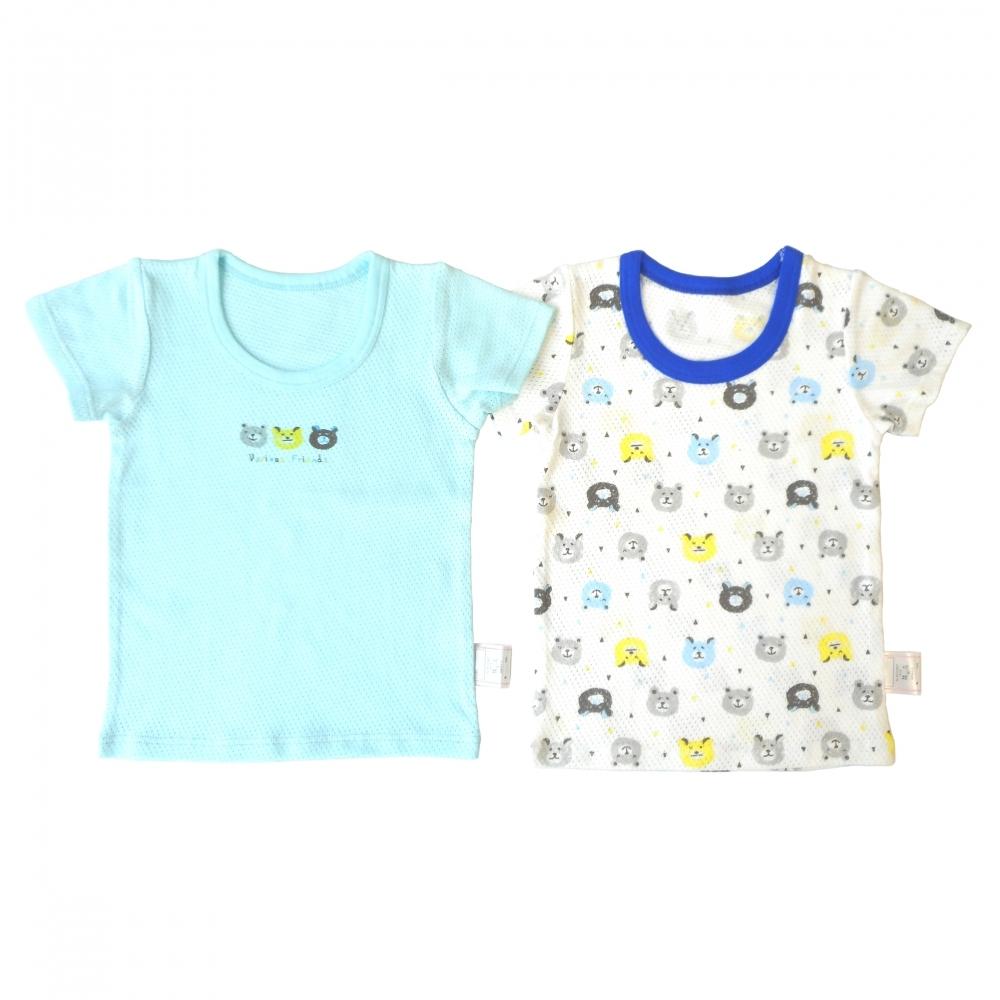 ベビーザらス限定 2P半袖シャツ肌着 メッシュ クマ ライトパステルブルー×80cm 絶品 定番から日本未入荷