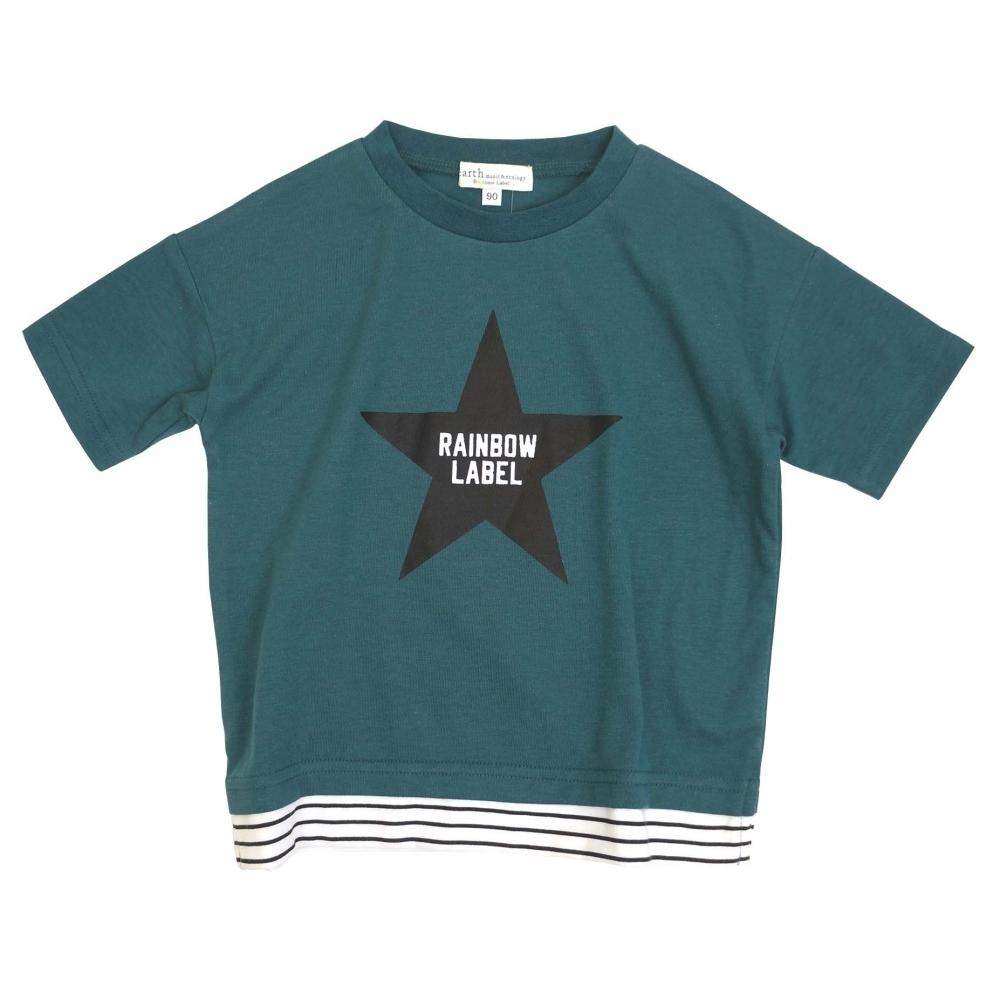ベビーザらス限定 earth musicecology Rainbow 在庫一掃売り切りセール 売り込み Label グリーン×95cm フェイクレイヤード半袖Tシャツ