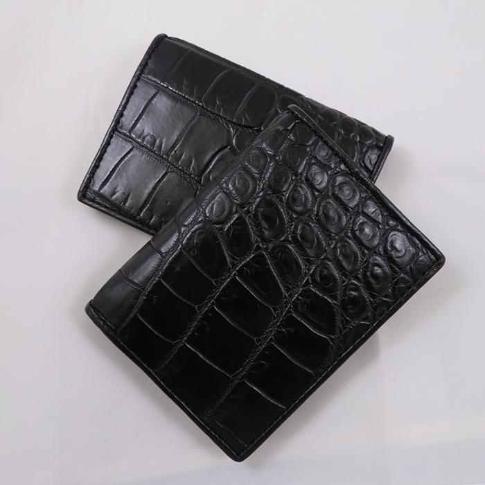 [HOLY QUINN]クロコダイル ワニ革 カードケース 二つ折り 2つ折り カード入れ カードホルダー スリムカードケース カード収納 ケース 薄型 薄い スリム 軽量 軽い 本革 レザー シンプル おしゃれ プレゼント 贈り物 ギフト