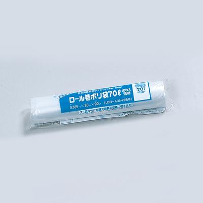福助工業 ロール巻ポリ袋(70リットル) LD 35-70 透明(1ケース30本)