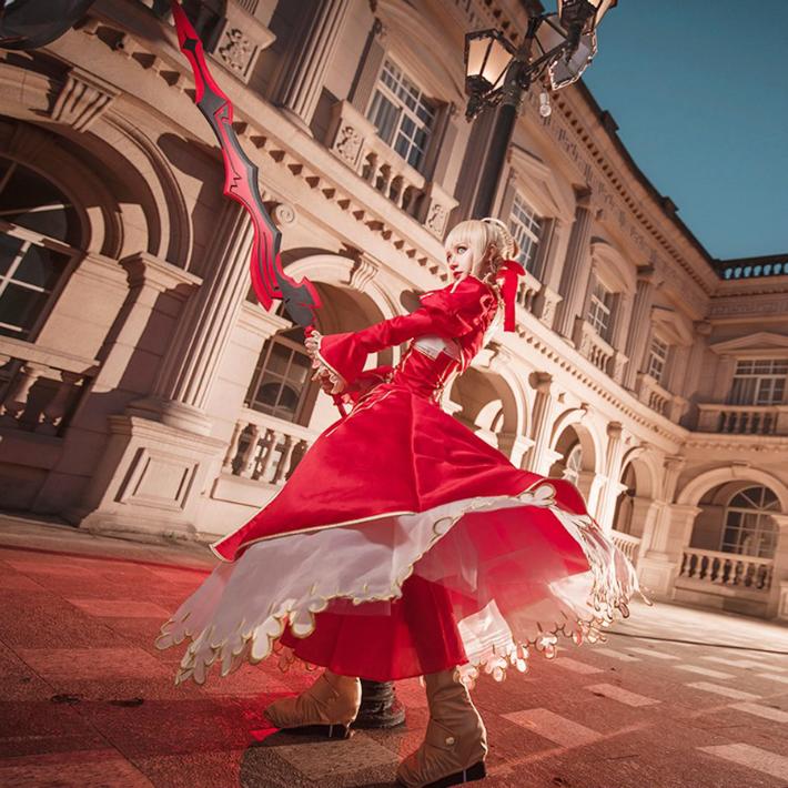 Fate/GrandOrderセイバーネロ赤ドレス衣装赤ドレスコスプレ送料無料
