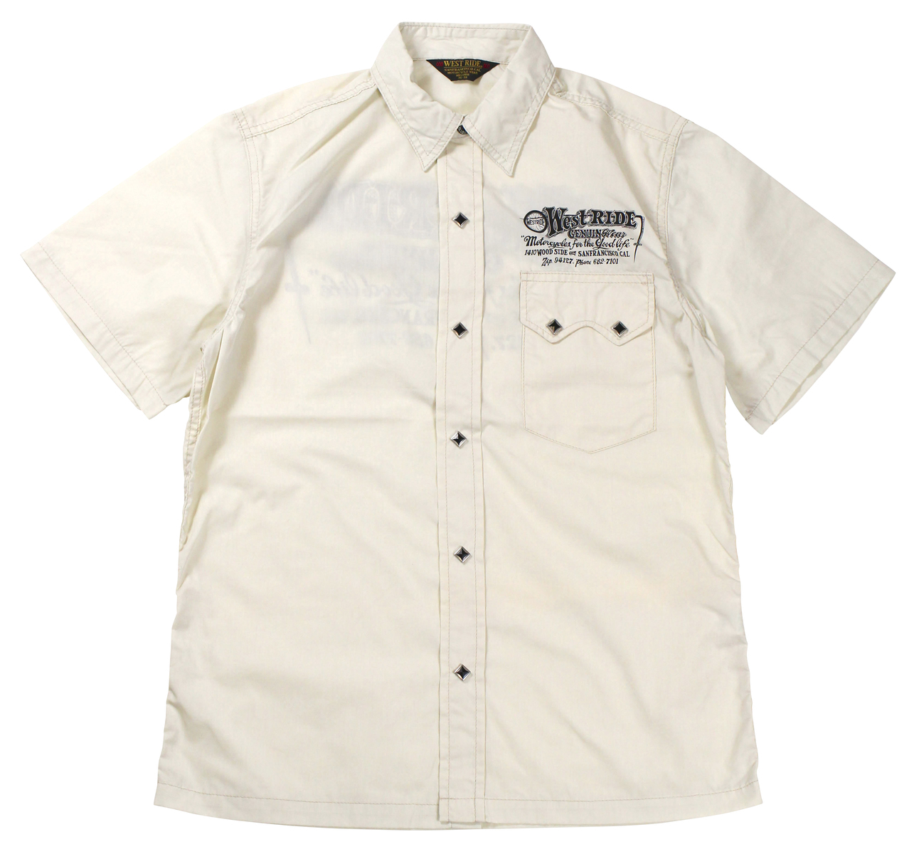 WESTRIDE [-SNAP WORK SHIRTS- CRM size.34,36,38,40,42,44]