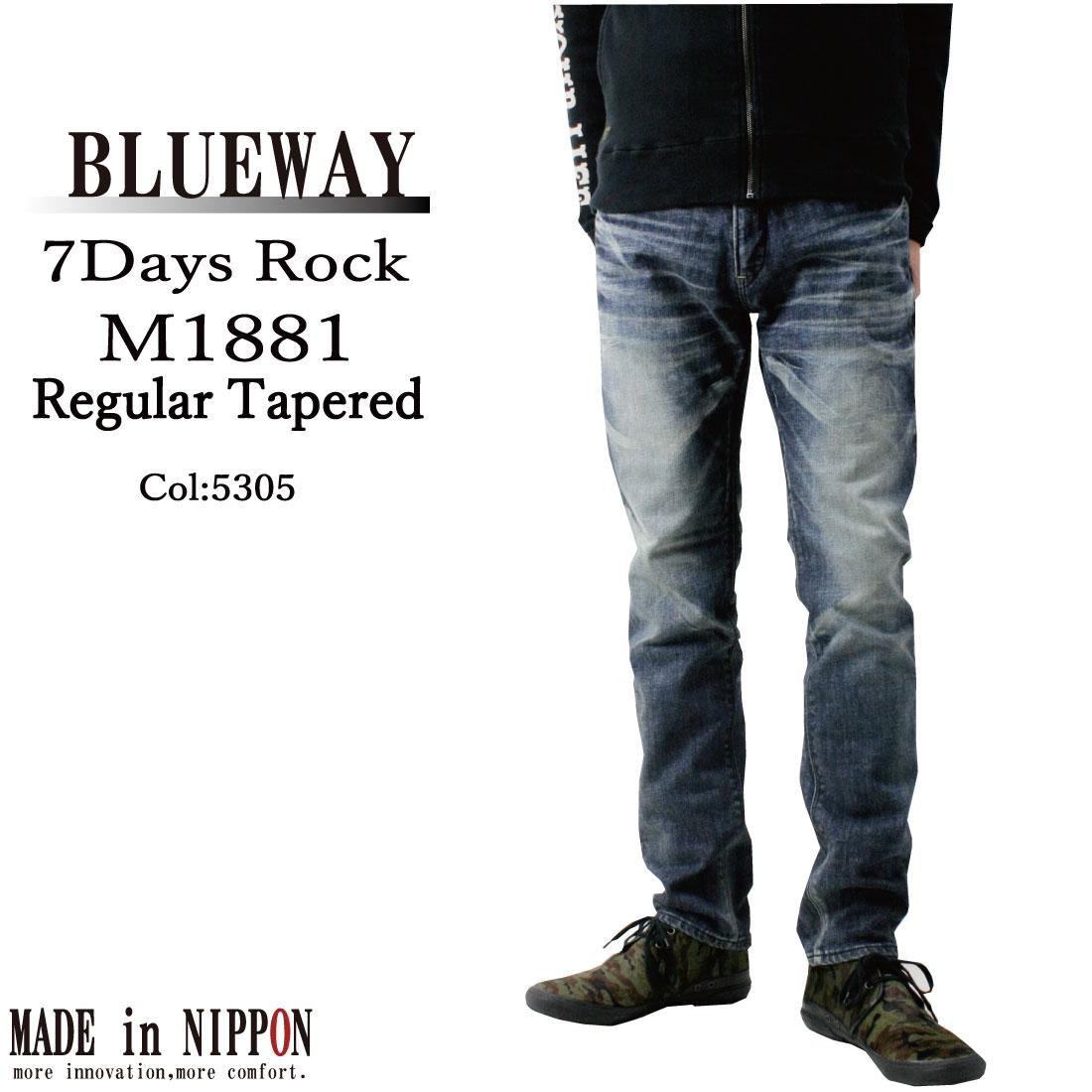 BLUEWAY ブルーウェイ メンズ M1881 ジーンズ ソリッドストレッチ デニム レギュラー テーパード M1881-5305 インディゴ オーバーエイジング加工