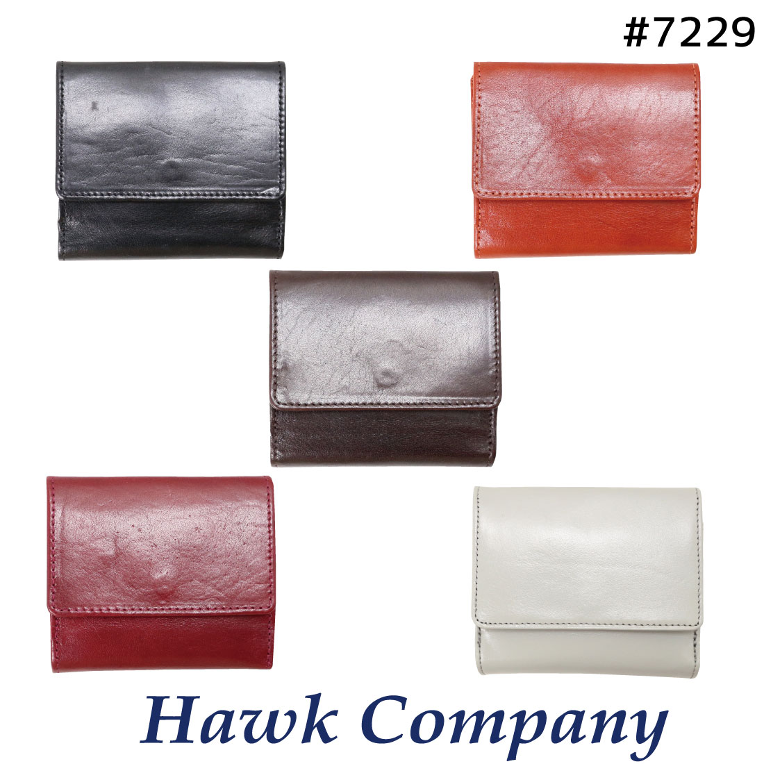 ホークカンパニー Hawk Company 二つ折り コンパクト レザー シンプル 機能性 ショートウォレット イタリアンレザー 7229 男女兼用 プレゼント
