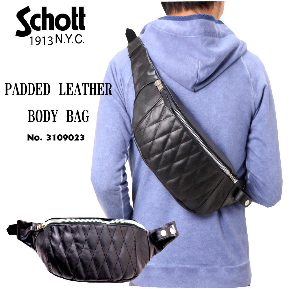 Schott ショット 3109023 PADDED LEATHER BODY BAG レザー 本革 カウハイド バイカー アメカジ メンズ