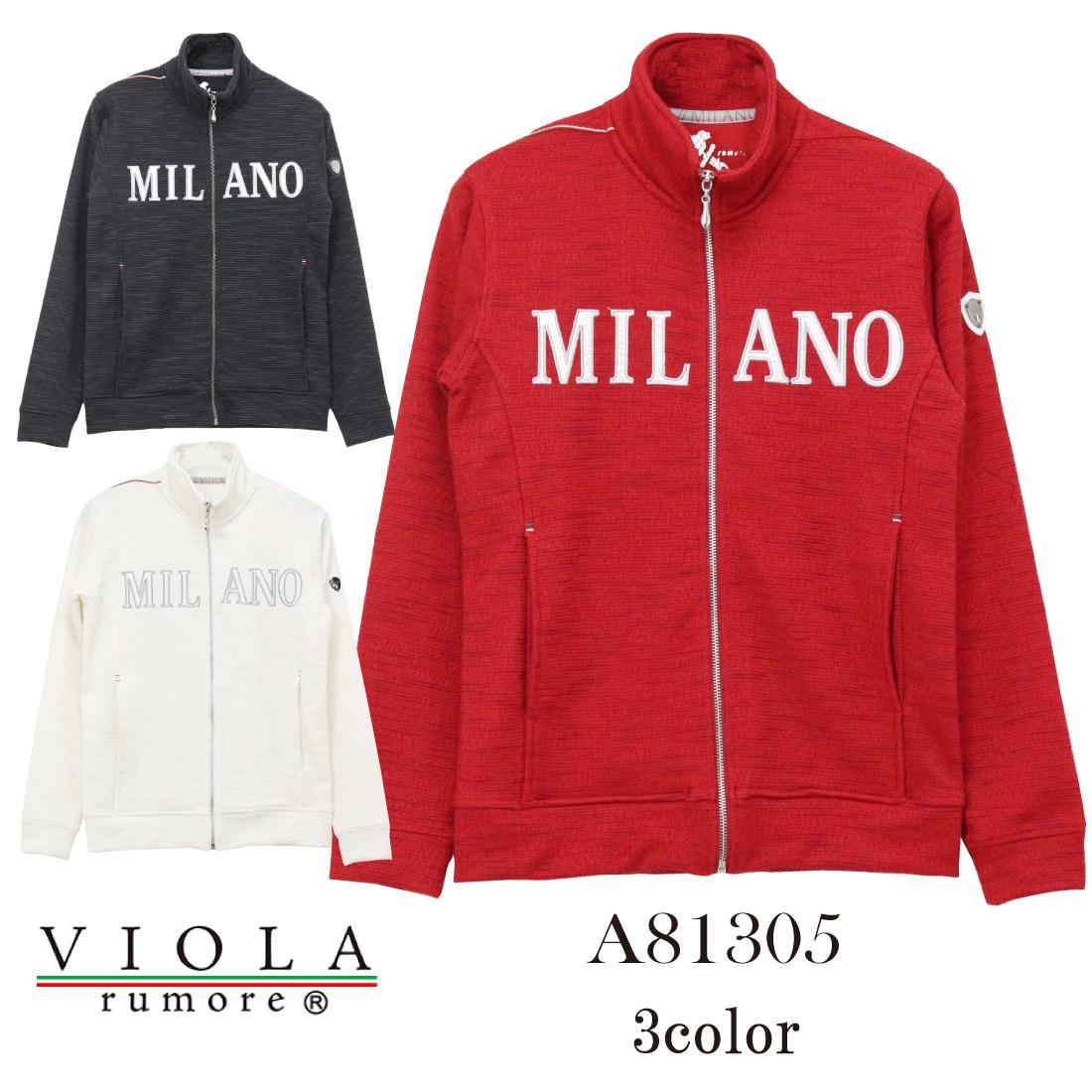 VIOLA ヴィオラ A81305 長袖 ジャケット フルZIPスラブ Wフェイス スタンド ワッペン 赤 白 黒 メンズ M/Lトップス