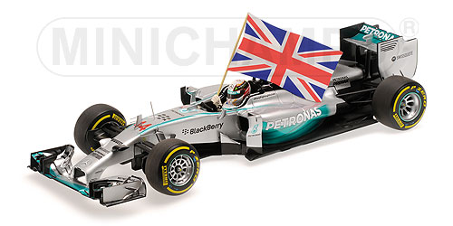 MERCEDES GP | F1 W05 AMG PETRONAS N 44 WINNER ABU DHABI GP WITH FLAG WORLD CHAMPION 2014 L.HAMILTON | SILVER GREEN /Minichampsミニチャンプス 1/18 ミニカー