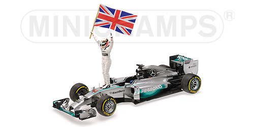MERCEDES GP | F1 W05 AMG PETRONAS N 44 WINNER ABU DHABI GP WITH STANDING FIGURE AND FLAG WORLD CHAMPION 2014 L.HAMILTON | SILVER GREEN /Minichampsミニチャンプス 1/18 ミニカー