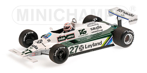 WILLIAMSウィリアムズ | F1 FW07B N 27 ALAN JONES 1980 WORLD CHAMPION | WHITE GREEN /Minichampsミニチャンプス 1/18 ミニカー