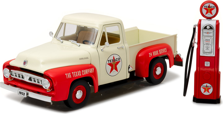 FORD USA - F-100 PICK-UP WITH TEXACO GAS PUMP 1953 /Greenlight 1/18 ミニカー