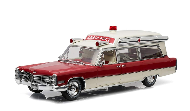 CADILLAC - S&S AMBULANCE HIGH TOP 1966 - CON BARELLA - WITH STRETCHER /Greenlight PRECISION COLLECTION 1/18 ミニカー