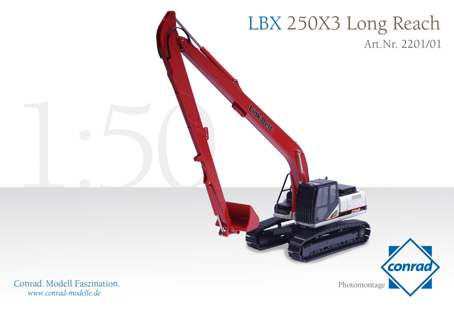 【予約】8月以降発売予定LBX 250X3 Long Reach Hydraulic excavator LINK-BELT 油圧ショベル/CONRAD 1/50 建設機械模型 ミニカー