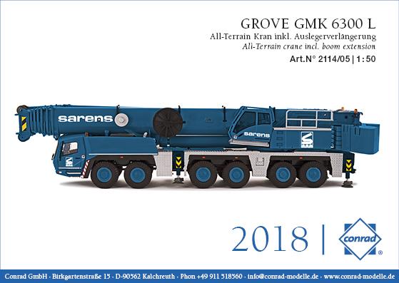 SARENS GROVE GMK 6300L オールテレーンクレーン boom extension モバイルクレーン /建設機械模型 工事車両 Conrad 1/50 ミニチュア
