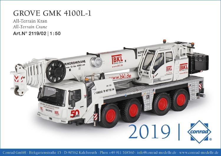 GROVE GMK 4100L-1 オールテレーンクレーン Edition: BKL モバイルクレーン/建設機械模型 工事車両 Conrad 1/50 ミニチュア