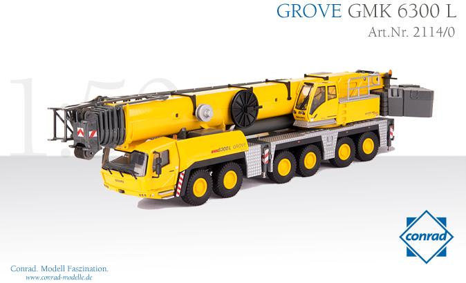 【予約】10-12月以降発売予定GROVE オールテレーンクレーン GMK 6300-L /Conrad 建設機械模型 工事車両 1/50 ミニチュア