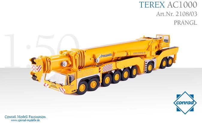 TEREX AC1000 Telescopic crane PRANGL モバイルクレーン /CONRAD 建設機械模型 工事車両 1/50 ミニチュア