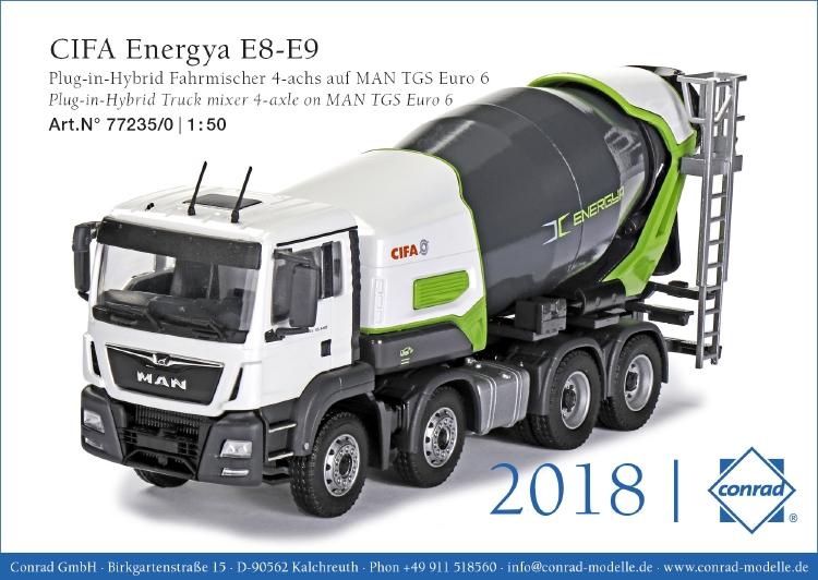 【予約】2019年発売予定CIFA Energya E8-E9 MAN TGS Euro 6 ミキサー車トラック /建設機械模型 工事車両 CONRAD 1/50 ミニチュア