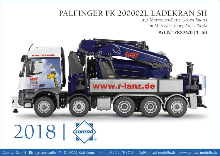 【予約】2019年発売予定PALFINGER PK 200002L LADEKRAN SH メルセデス・ベンツアクトロス 5軸 LANZトラック /建設機械模型 工事車両 CONRAD 1/50 ミニチュア