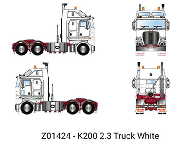 【予約】6-8月以降発売予定Kenworth K200 Prime Mover with 2.3m Cab in White トラック トラクタヘッド/建設機械模型 工事車両 DRAKE 1/50 ミニチュア