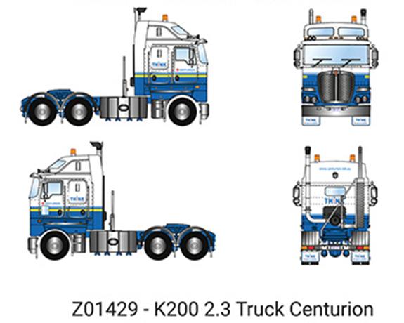 【予約】6-8月以降発売予定Centurion - Kenworth K200 Prime Mover with 2.3m Cab トラック トラクタヘッド/建設機械模型 工事車両 DRAKE 1/50 ミニチュア