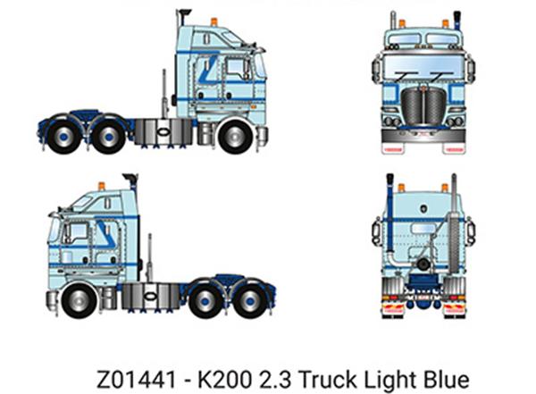 【予約】6-8月以降発売予定Kenworth K200 Prime Mover with 2.3m Cab in Light Blue トラック トラクタヘッド/建設機械模型 工事車両 DRAKE 1/50 ミニチュア