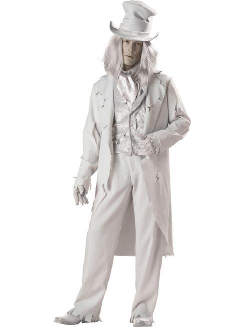 幽霊?ジェントルマン?メンズ用ゴーストコスチューム 7ピースセット コスプレ衣装 (二次会、結婚式、仮装、パーティー、宴会、ハロウィン) 男性 大人用