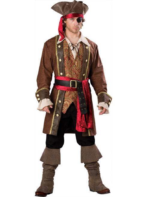 キャプテン・スカルダグリー メンズ用コスチューム 7ピースセット コスプレ衣装 (二次会、結婚式、仮装、パーティー、宴会、ハロウィン) 男性 大人用