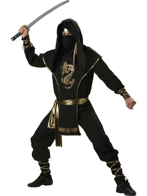 やっぱり和風がしっくりくるメンズ用 忍者コスチューム 6ピースセット コスプレ衣装 (二次会、結婚式、仮装、パーティー、宴会、ハロウィン) 男性 大人用