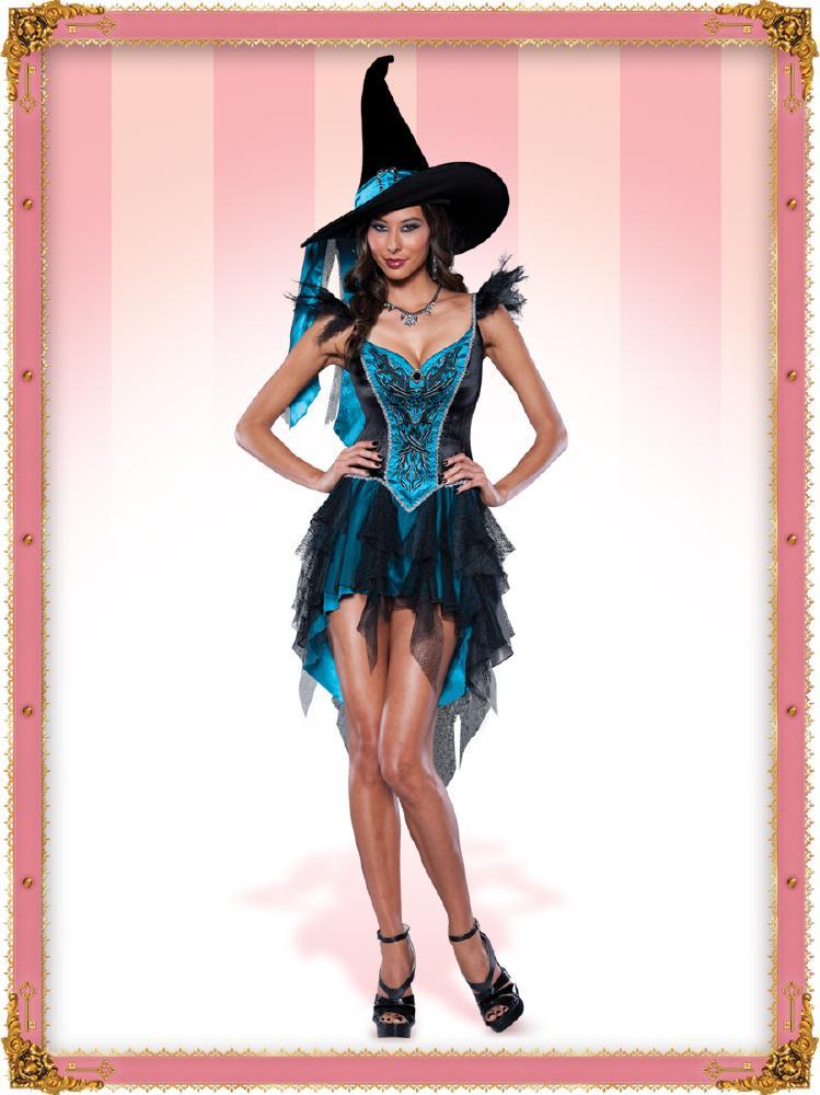 魅惑的な魔女のコスチューム2点セット (イベント 二次会、結婚式、仮装、パーティー、宴会、舞台、演劇、ハロウィン) 女性 大人用