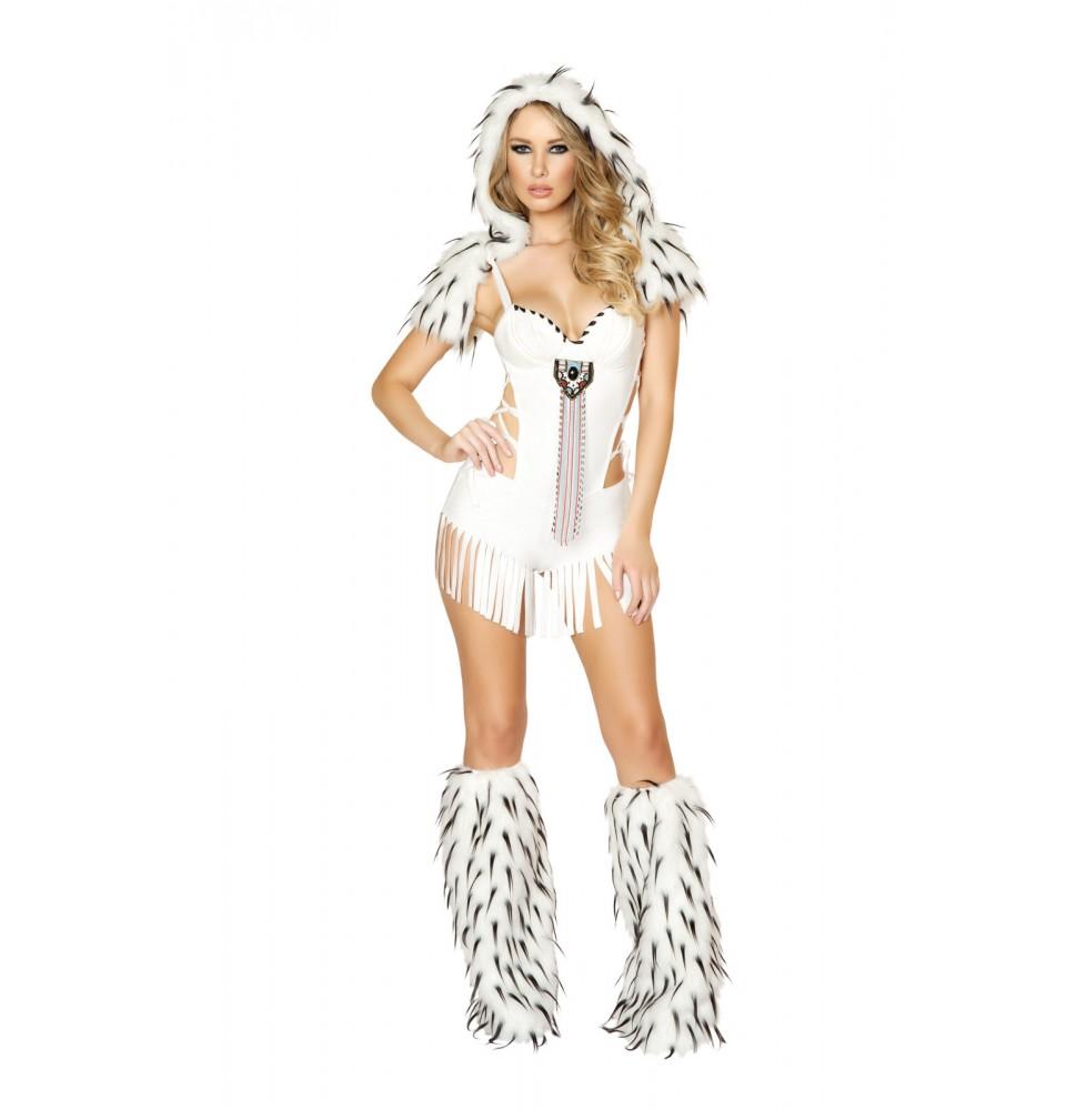 インディアンスピリッツコスチューム?取り外し可能のファーフード付きロンパースタイプ 仮装コスチューム コスプレ /ROMAローマコスチューム・仮装・ハロウィン・女性大人用