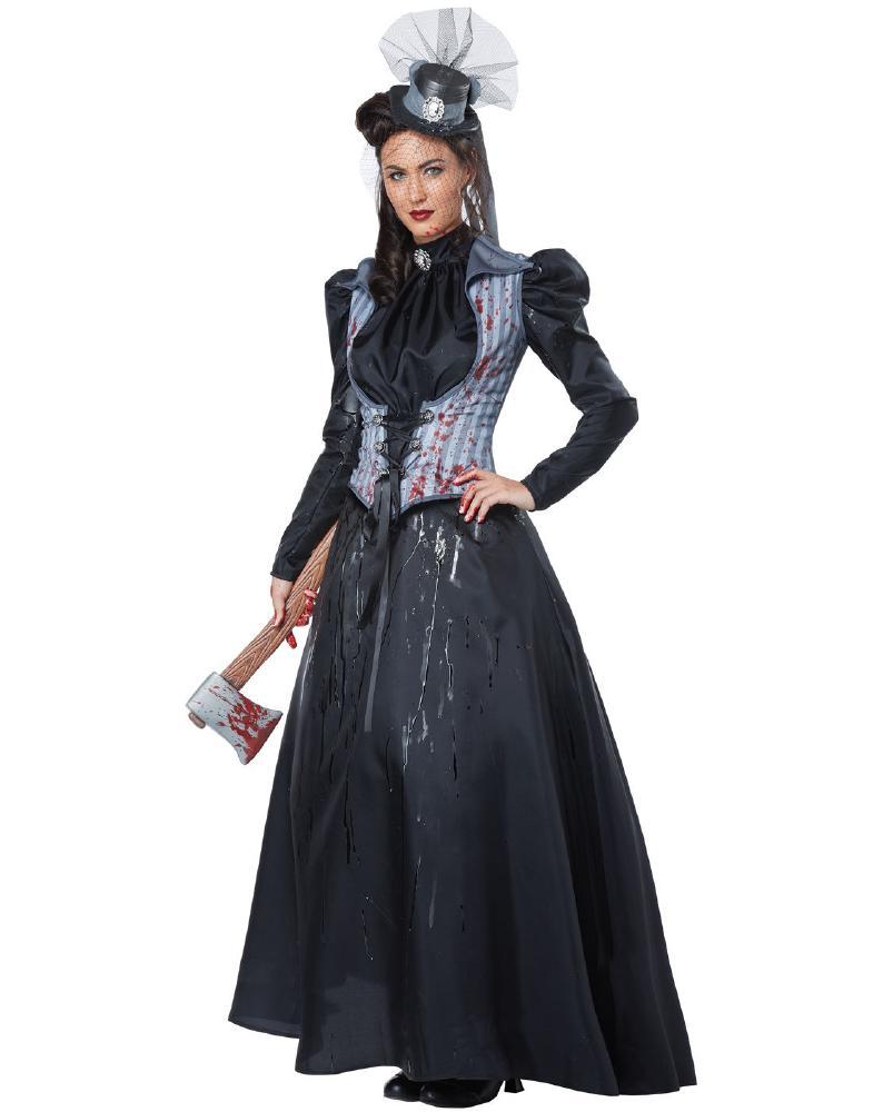 リジー・ボーデン/ 斧殺人鬼 アダルト 3点セット コスプレ衣装 (二次会、結婚式、仮装、パーティー、宴会、ハロウィン)大人女性用