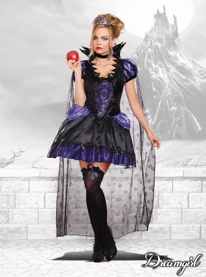 白雪姫 継母女王 クイーン ディズニー 大人女性 4点セット コスチューム コスプレ衣装 (二次会、結婚式、仮装、パーティー、宴会、ハロウィン)