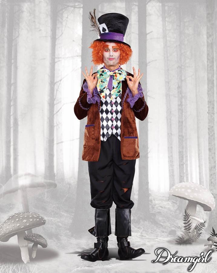 マッドハッター アリス ジョニーデップ 大人男性  3点セット コスチューム コスプレ衣装 (二次会、結婚式、仮装、パーティー、宴会、ハロウィン)
