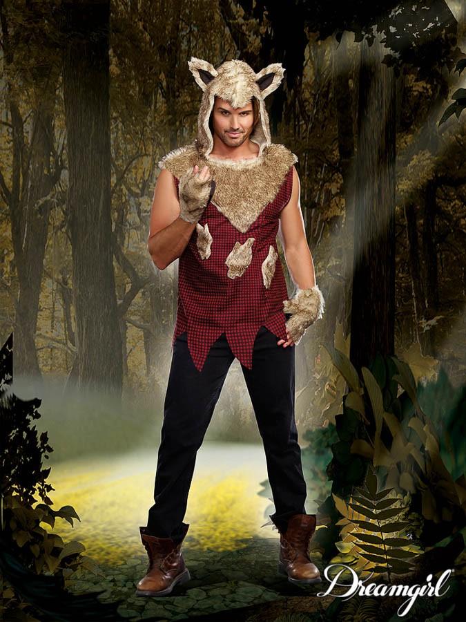 ビッグ・バッド・ウルフ  大人男性  2点セット コスチューム コスプレ衣装 (二次会、結婚式、仮装、パーティー、宴会、ハロウィン)