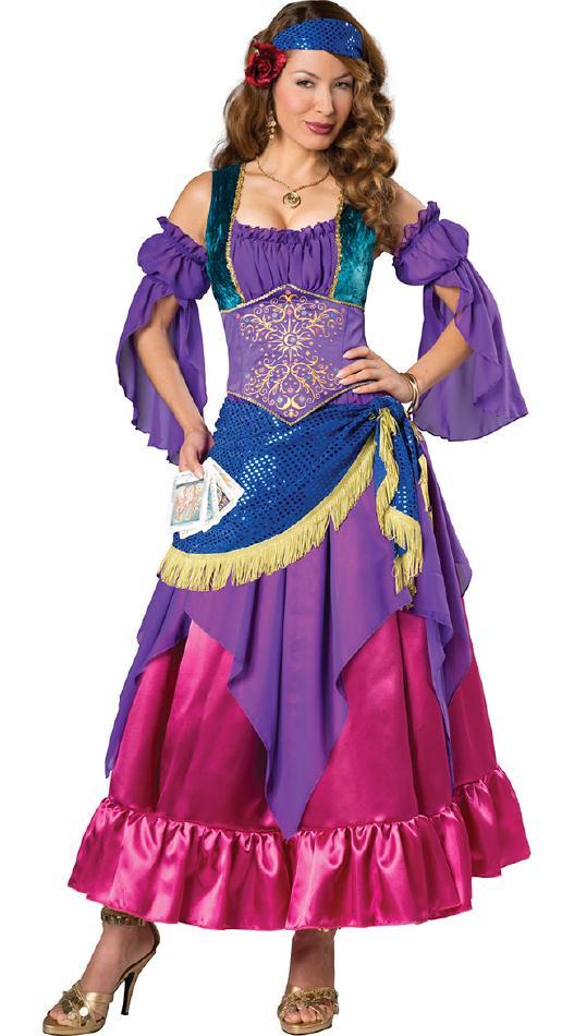 ジプシーガールのコスチューム2点セット コスプレ衣装 (二次会、結婚式、仮装、パーティー、宴会、舞台、演劇、ハロウィン) 女性 大人用