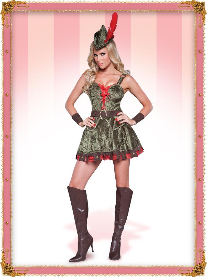可愛いシャーウッドのコスチューム5点セット コスプレ衣装 (二次会、結婚式、仮装、パーティー、宴会、舞台、演劇、ハロウィン) 女性 大人用