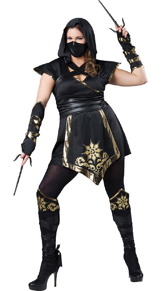 忍者ガールのコスチューム5点セット【大きいサイズ】 コスプレ衣装 (二次会、結婚式、仮装、パーティー、宴会、舞台、演劇、ハロウィン) 女性 大人用