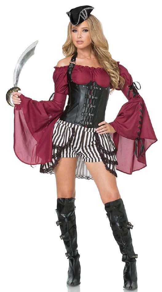 七つの海のパイレーツのコスチューム3点セット コスプレ衣装 (二次会、結婚式、仮装、パーティー、宴会、舞台、演劇、ハロウィン) 女性 大人用