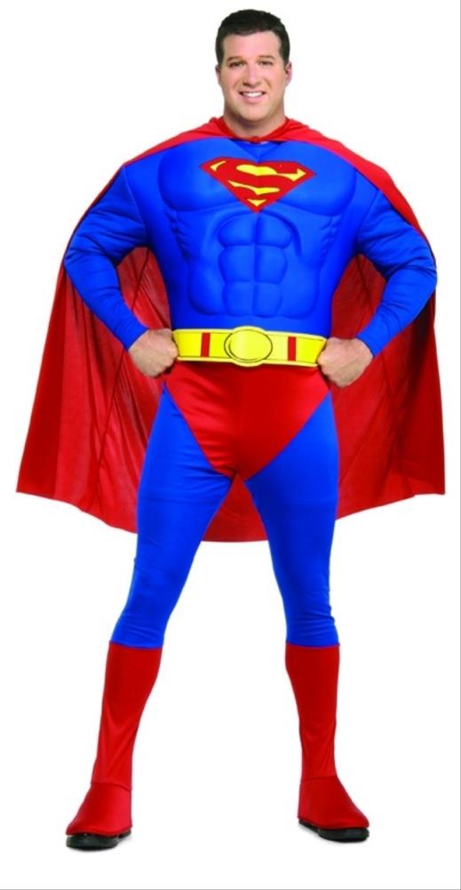 スーパーマンの胸筋コスチューム・デラックス4点セット大人用【サイズ追加】 コスチューム コスプレ衣装 (二次会、結婚式、仮装、パーティー、宴会、舞台、演劇、ハロウィン、大きいサイズ)大人用 男性
