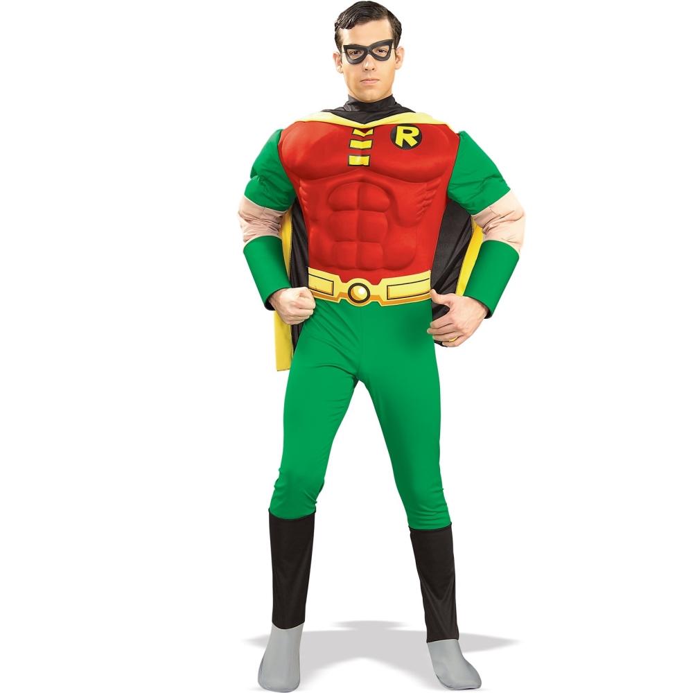 DCコミックス デラックス マッスルチェスト ロビン アダルトコスチューム 4点セット コスチューム コスプレ衣装 (二次会、結婚式、仮装、パーティー、宴会、ハロウィン)大人男性用