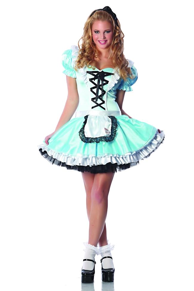 Go Ask 不思議の国のアリス セクシー コスチューム アダルト 2点セット コスチューム コスプレ衣装 (二次会、結婚式、仮装、パーティー、宴会、ハロウィン)大人女性用
